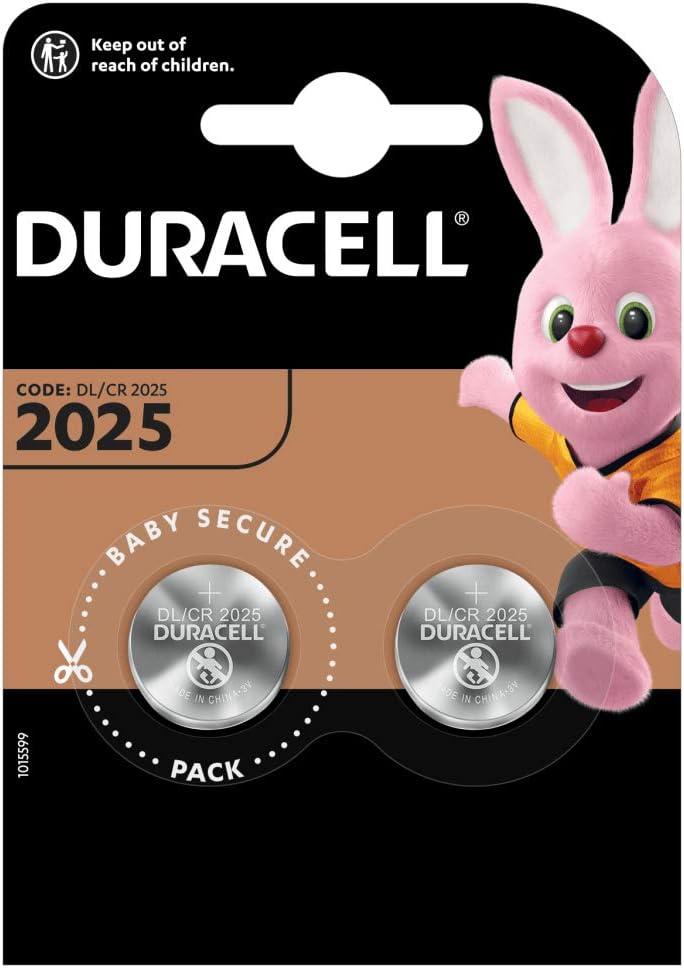 Duracell DL2025/CR2025 - Pilas especiales de botón de litio 2025 de 3V, paquete de 2 unidades diseñada para uso en llaves con sensor magnético, básculas, elementos vestibles y dispositivos médicos