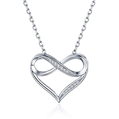 a52124f6b16 AmorAime 925 Sterling Silver Infinity Heart Necklace White Gold Plated  Cubic Zirconia Endless Love Pendant Necklace Gift for Women  Amazon.co.uk   Jewellery