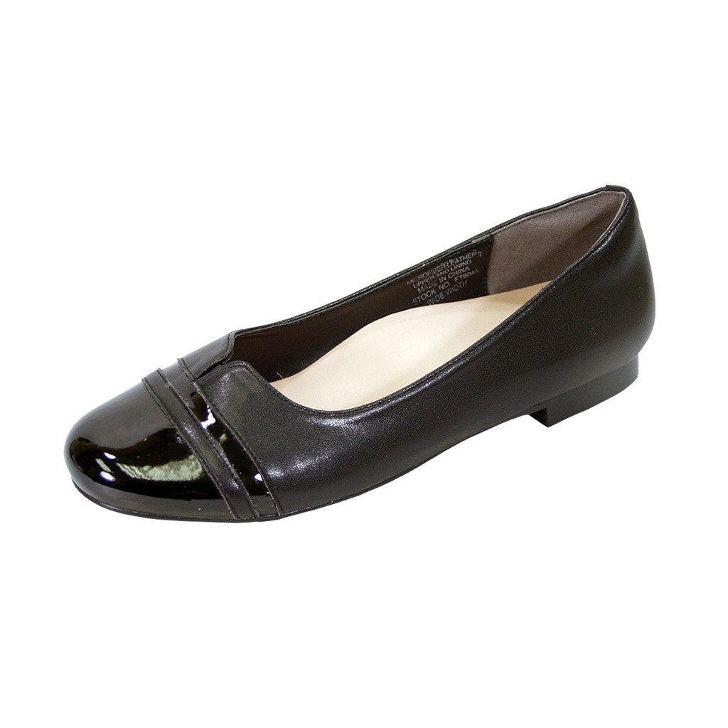Peerage Marina Women Wide Width Round Toe Casual Dress Skimmer Flats (Size & Measurement Chart Available) B07BK7829Z 7.5 E|Black