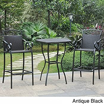 International Caravan Valencia Resin Wicker/ Steel 3 Piece Bar Height  Bistro Set Antique Black