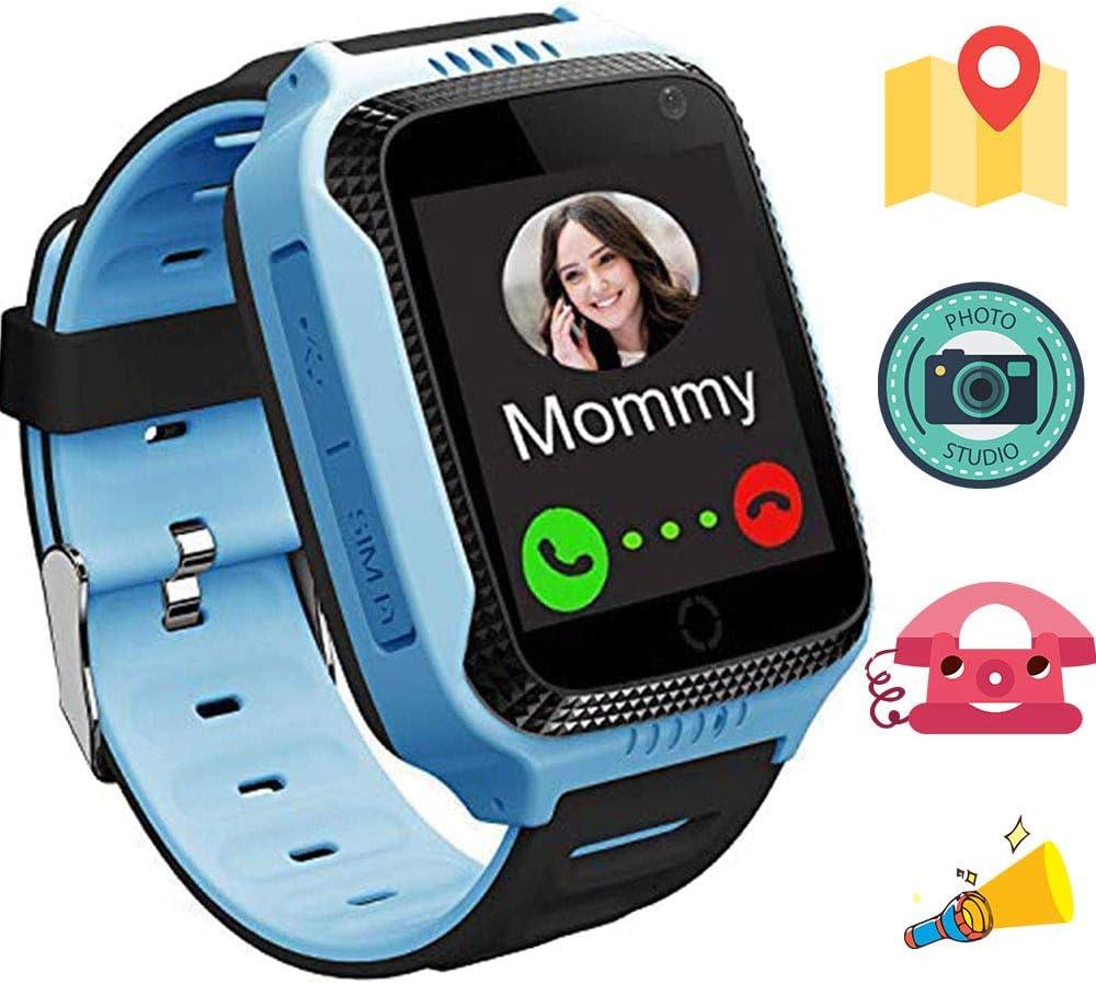 1.44 Pulgadas Touch Kids GPS Tracker Smart Watch con La Cámara SIM Llamadas Anti-perdido SOS Reloj Pulsera para Niños, Localizador Rastreador GPS Niños con GPS + Estación Base Azul