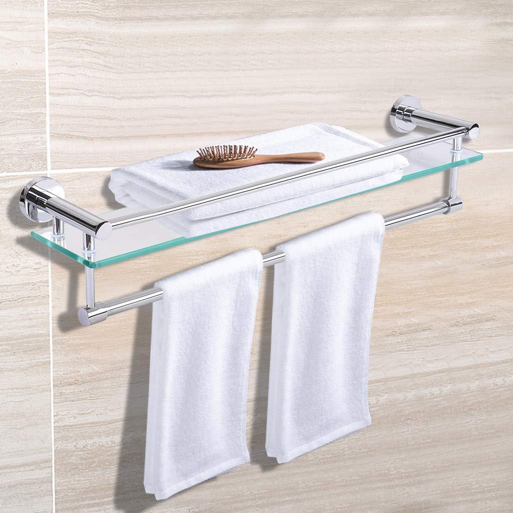 Multifunctional Bathroom Glass Shelf,Jchen 【Ship from USA】 Stainless Steel Bathroom Glass Shelf with Towel Bar Wall Mounted Shower Storage