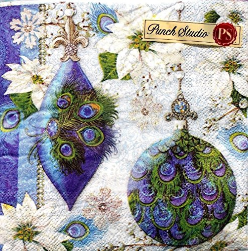 Punch Studio Set of 40 Paper Luncheon Napkins ~ Peacock Feather Ornaments 99526 -
