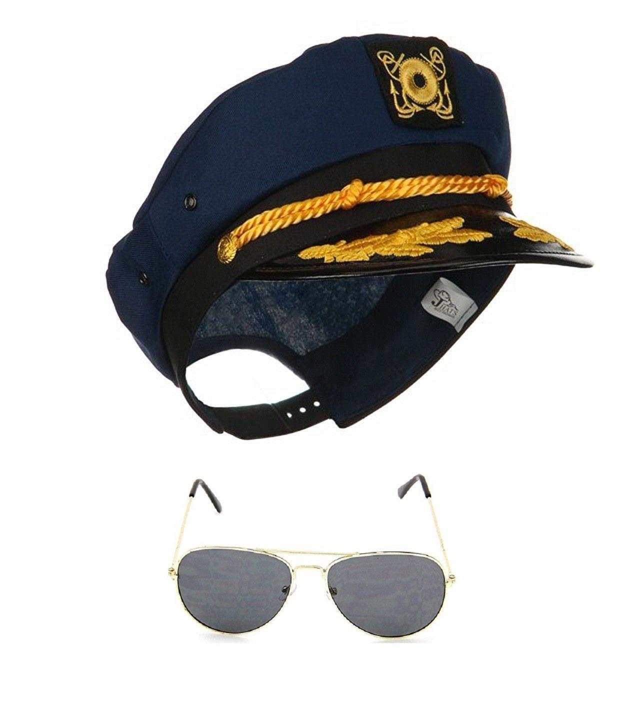 Yacht Skipper Boat Captain Hat Sailor Ship Cap Navy Blue Gold Aviator Sunglasses by Nicky Bigs Novelties (Image #2)