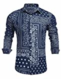 COOFANDY Men's Paisley Print Slim Fit Long Sleeve Casual Button Down Shirt, Deep Blue, Small