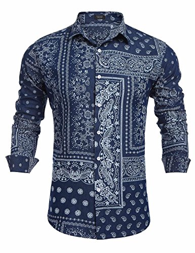 Paisley Design Shirt (COOFANDY Men's Paisley Print Slim Fit Long Sleeve Casual Button Down Shirt,Deep Blue,X-Large)