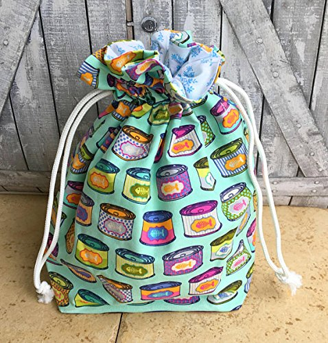 Knitting Project Bag|Tula Pink Tabby Road Cat Snacks Drawstring Project Bag|Crochet Project Bag|Knitting Bag|Crochet Bag|Toad Hollow Bag|