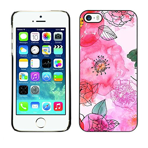 Soft Silicone Rubber Case Hard Cover Protective Accessory Compatible with Apple iPhone? 5 & 5S - hand drawn white flowers floral