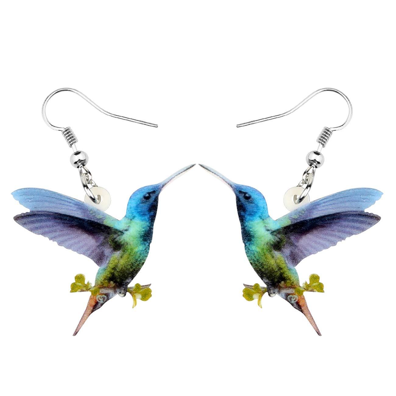Bonsny Acrylic Drop Dangle Hummingbird Bird Earrings Jewelry For Women Girls Kids Gift Charms