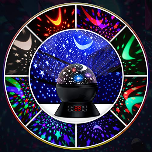 Led Night Lights for Kids Bedroom Decor, Star Projector with Timer Setting, 8 Lighting Modes for Boys and Girls Gift (Black)