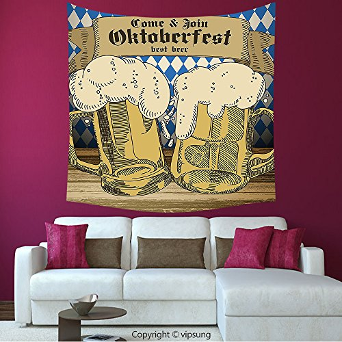 Ny Tourist Costume (House Decor Square Tapestry-Oktoberfest Decorations Collection Oktoberfest Design Famous Costume Tourist Attraction Travel Destination Blue Beige_Wall Hanging For Bedroom Living Room Dorm)