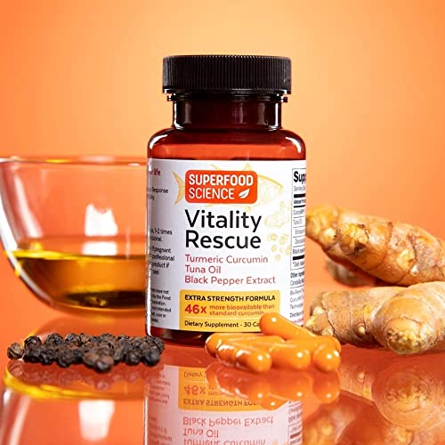 Superfood Science Turmeric Curcumin Supplement with Black Pepper and Omega 3 Fish Oil, High Absorption Turmeric Supplement with Bioperine for Joint and Inflammatory Support, Non GMO, 30 Capsules
