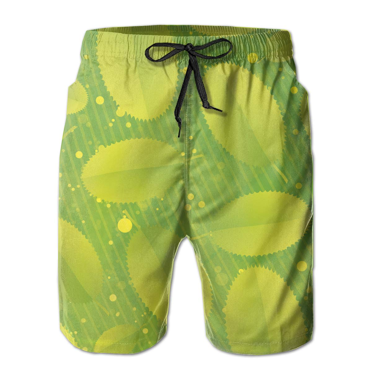 Green Leaves Quick Dry Elastic Lace Boardshorts Beach Shorts Pants Swim Trunks Male Swimsuit with Pockets