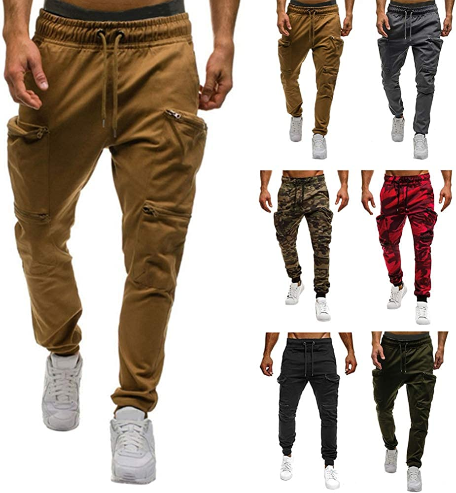 mens joggers Gym Tracksuit Bottoms Camo Jogging Trousers Sweat Pants Running SML