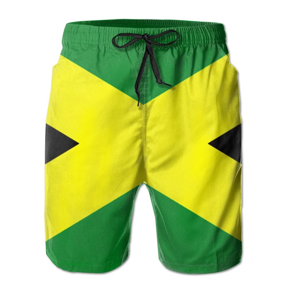 6eafa3e03b Amazon.com: Jamaican Flag Mens Quick Dry Swim Trunks Beach Shorts: Clothing