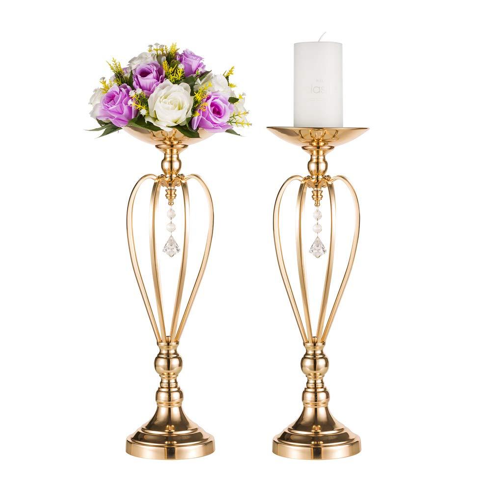 Set of 2 Versatile Metal Flower Arrangement & Candle Holder Stand Set Candlelabra for Wedding Party Dinner Centerpiece Event Restaurant Hotel Decoration (Heart Style, 2x17.7 H) 2x17.7 H) Fuzhou cangshan