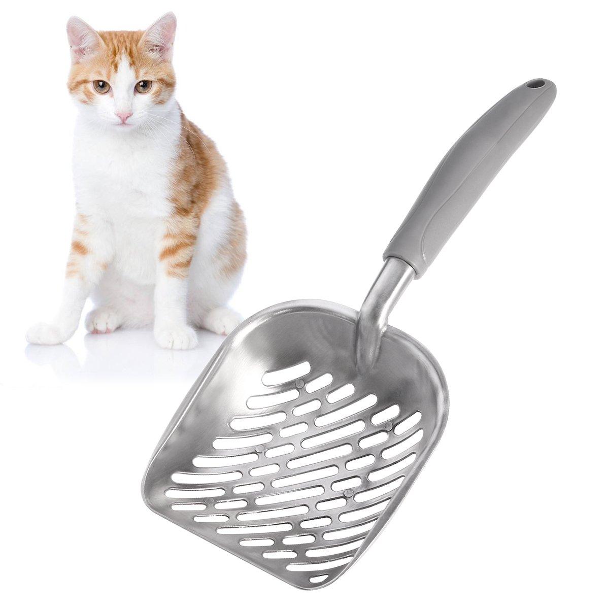 15CM UEETEK Paletta per Lettiera pala di scoop di gatto,Scoop spazzolato in metallo duro in alluminio con comoda gomma Manico lungo Impugnatura per gatto di gatto da compagnia,35 L * W