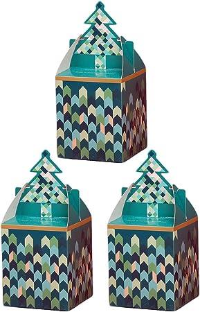 Da.Wa 3X Cajas de Regalo Decorativa Cajas de Dulces Caja de Papel de Regalo para Navidad Decorativos para Navidad Verde 8.5 * 8.5 * 10cm: Amazon.es: Hogar