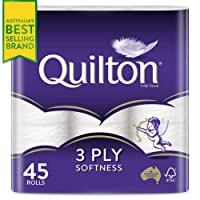 Quilton 3 Ply Toilet Tissue (180 Sheets per Roll, 11x10cm), 45 count, Pack of 45