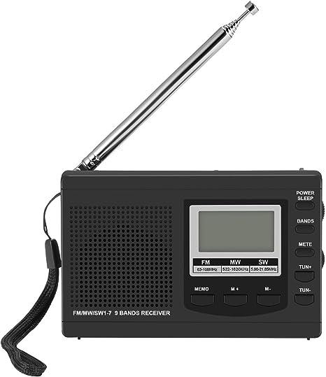 Konesky Am FM SW Radio portátil Mini Bolsillo Bandas de Radio Receptor Batería Digital pequeña con Altavoz, Auriculares y función de Reloj Despertador (Negro): Amazon.es: Electrónica