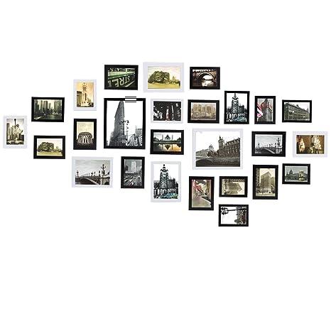 Portafoto Da Parete Multiplo.Titolo Sungle Portafoto Multiplo Da Parete Cornice Per Foto In Legno Set Di 26 Pezzi Nero Bianco