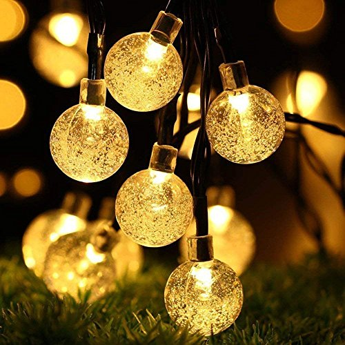 Solar Crystal Ball String Lights, KINGCOO Waterproof 20ft 30 LED Crystal Globe Fairy Lights with 2 Modes Crystal Ball Globe Lights for Garden, Yard,Christmas Decorations