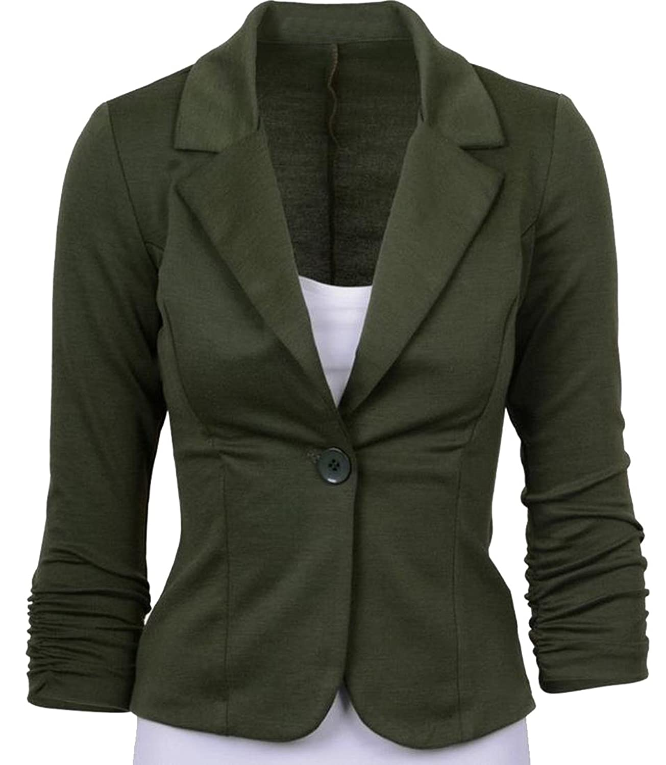Abetteric Women's Basic Blazer Long Sleeve Suit Jacket Blazer