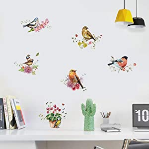 FANGLIAN Birds on Tree Branch Wall Sticker Birds Flower Wall Decals Removable Birds and Flowers Home Art Decal Decor, Living Room and Bedroom TV Background Nursery Playroom Girls Bedroom Wall Decor