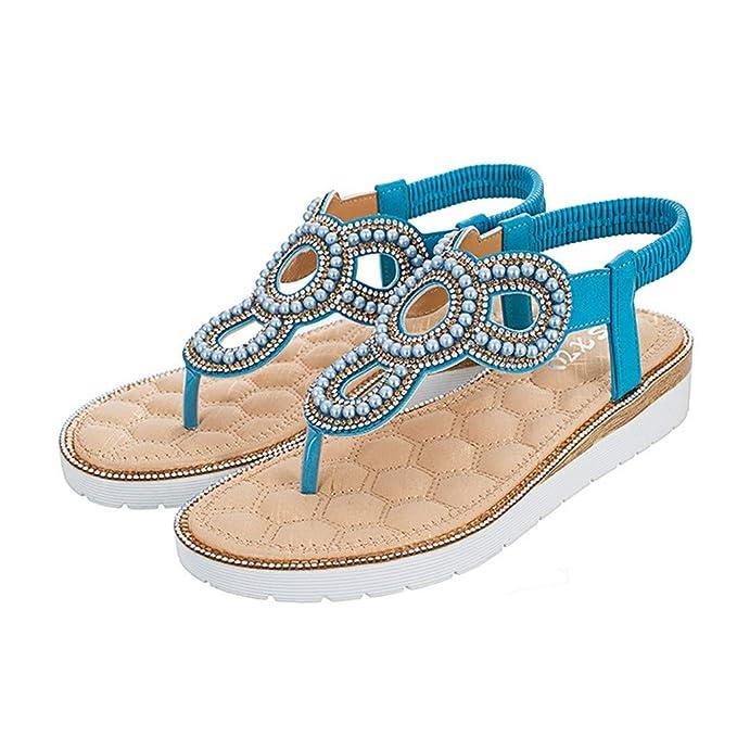 7a4685cdd3ecb AHAYAKU Summer Women Ladies Flat Bohemia String Bead Sandals Beach ...