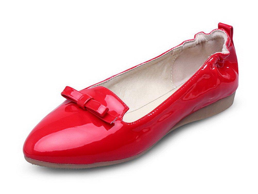VogueZone009 Femme Couleur Unie Verni Non Couleur Talon Non Pointu 19321 Tire Chaussures à Plat Rouge d631f15 - reprogrammed.space