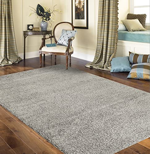 Rugshop Cozy Solid Indoor Shag Area Rug 6' 6″ x 9' Gray