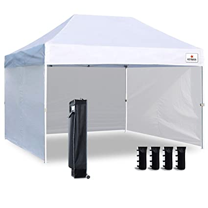 Keymaya 10'x15' Ez Pop Up Canopy Tent Commercial Instant Shelter with 4  Removable sidewalls Bonus Weight Bag 4-pc Pack (White)