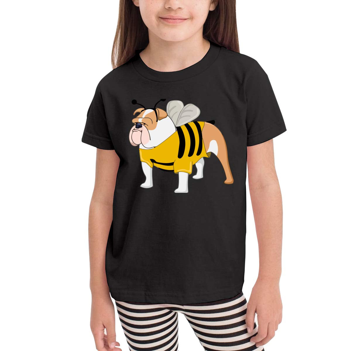 Bee Bulldog Kids Cotton T-Shirt Basic Soft Short Sleeve Tee Tops for Baby Boys Girls