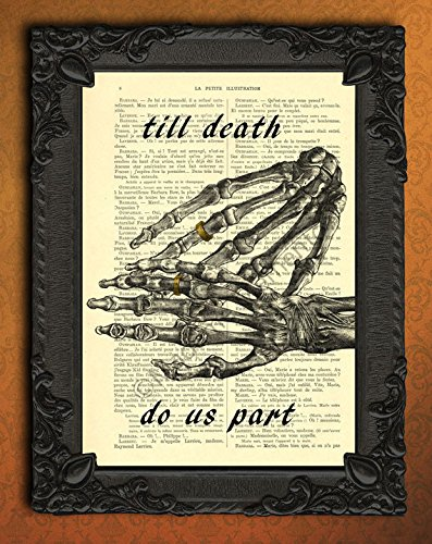 [till death do us part wedding poster, human skeleton hands wedding ring wall art, gothic couple rings art print, halloween wedding decor, I love you forever artwork, goth dictionary print] (Halloween Decor For Home)
