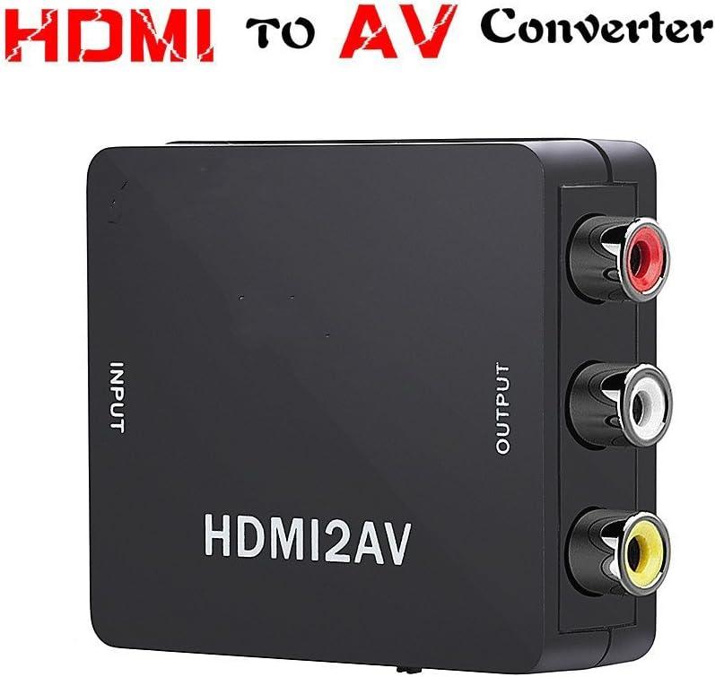ADMI Mini 1080P HDMI a AV convertidor 3 RCA CVBS Video Compuesto Audio HDMI 2 AV convertidor con USB Cargador Cable para televisor PS3 VHS VCR DVD (HDMI a AV-Black): Amazon.es: Electrónica
