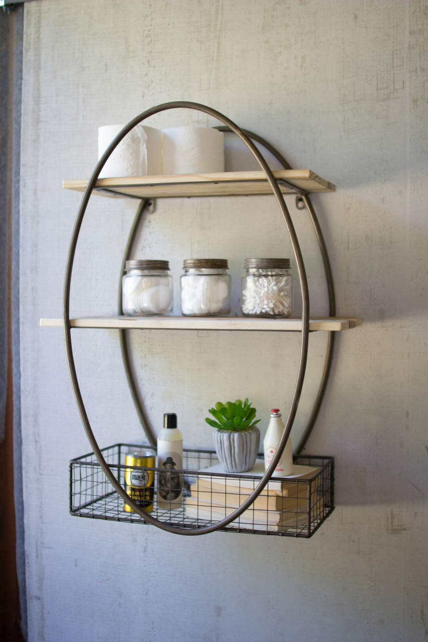 BORNEO DECOR CQ7269 Tall Oval Metal Framed Wall Unit with Recycled Wood Shelves