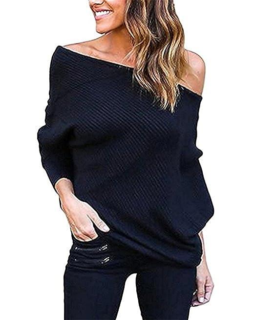 Ruiying Mujer Moda Suéter Largo Casual Jersey Prendas de Punto de Cuello Barco Batwing Mangas Largas