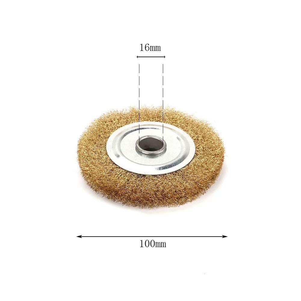 375mm Crimped Brass Flat Brush Copper Wire Wheel with 1//4 Bore for Bench Grinder Rust and Paint Removal Cleaning and Surface Polishing 1Pc