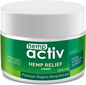 HEMPACTIV Hemp Pain Relief Cream| Hemp + MSM + Arnica + Menthol | Relieve Muscle, Joint & Arthritis Pain | Effective Hemp Pain Cream | 2oz