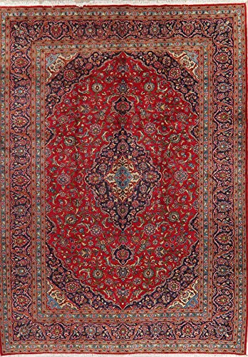 Persian Kashan Area Rug Wool Hand-Knotted Oriental Floral 10X14 Vintage Carpet Red
