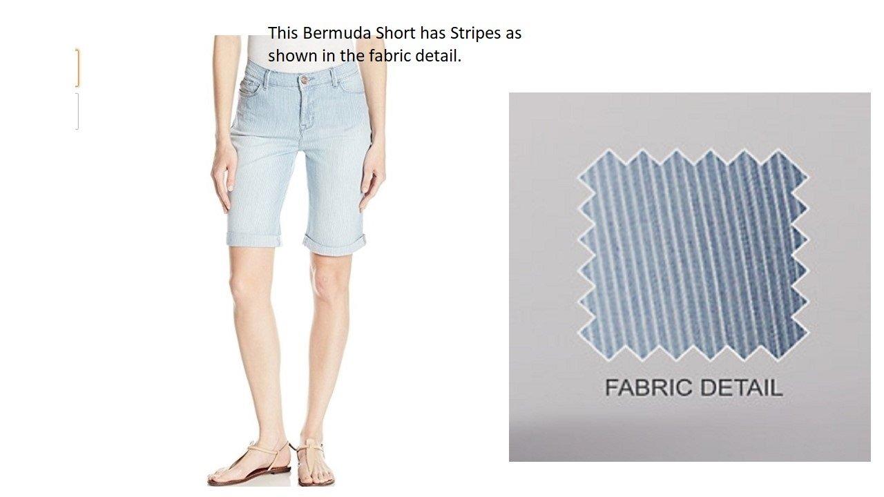 Lee Women's Modern Series Midrise Fit Gunnison Bermuda Petite Size Shorts (Railroad Stripe/Light Blue), 8P