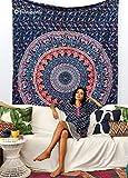 Handmade Cotton Mandala Bedspread Throw Bohemian Backdrop Medallion Yoga Meditation Picnic Garden Beach Throw Boho Gypsy Dorm Decor Living Room Hippie Hippy Wall Hanging Tapestry