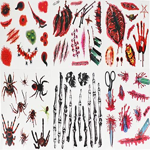 Ru Ye Pcs Halloween Lifelike Blood Scar Tattoos Fake Scars Bloody Costume Makeup Halloween Decoration Wound Scary Injury Sticker (6 pcs)