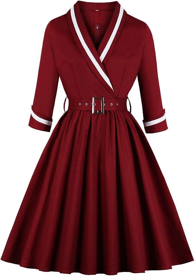 1950s Mature Women Fashion, Mrs. Clothing Wellwits Womens 3/4 Sleeves Wrap Sailor Stripe Cotton Vintage Career Dress $17.99 AT vintagedancer.com