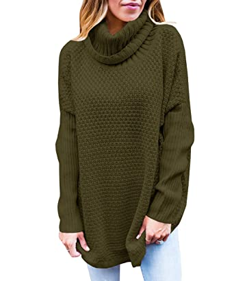 cdf129a0b5 Womens Turtleneck Oversized Sweaters Fall Cowl Neck Long Sleeve Chunky Knit Pullover  Jumper at Amazon Women s Clothing store