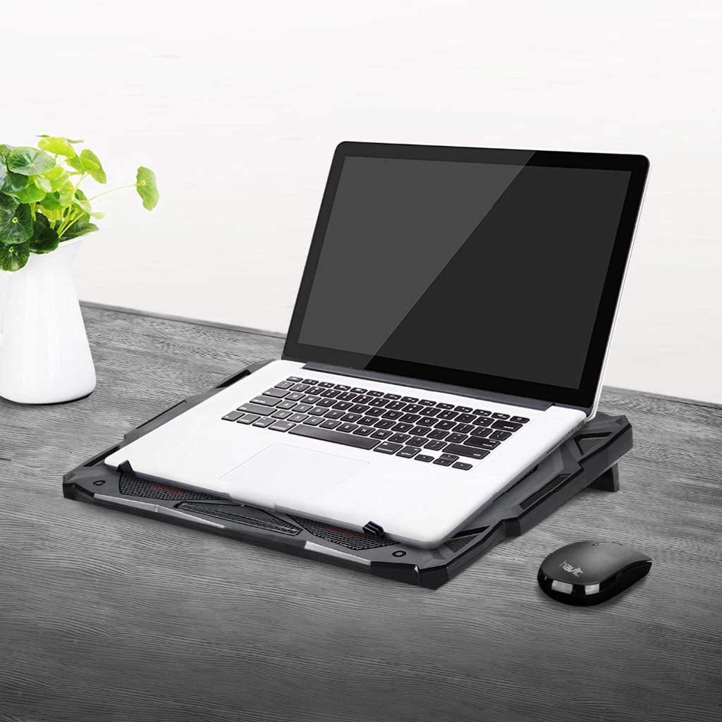 Gybai New Fan Cooling Mute Notebook Cooling Pad LED USB Cooling Notebook with 5 Fans Laptop Noiseless Laptop Fan 14-17