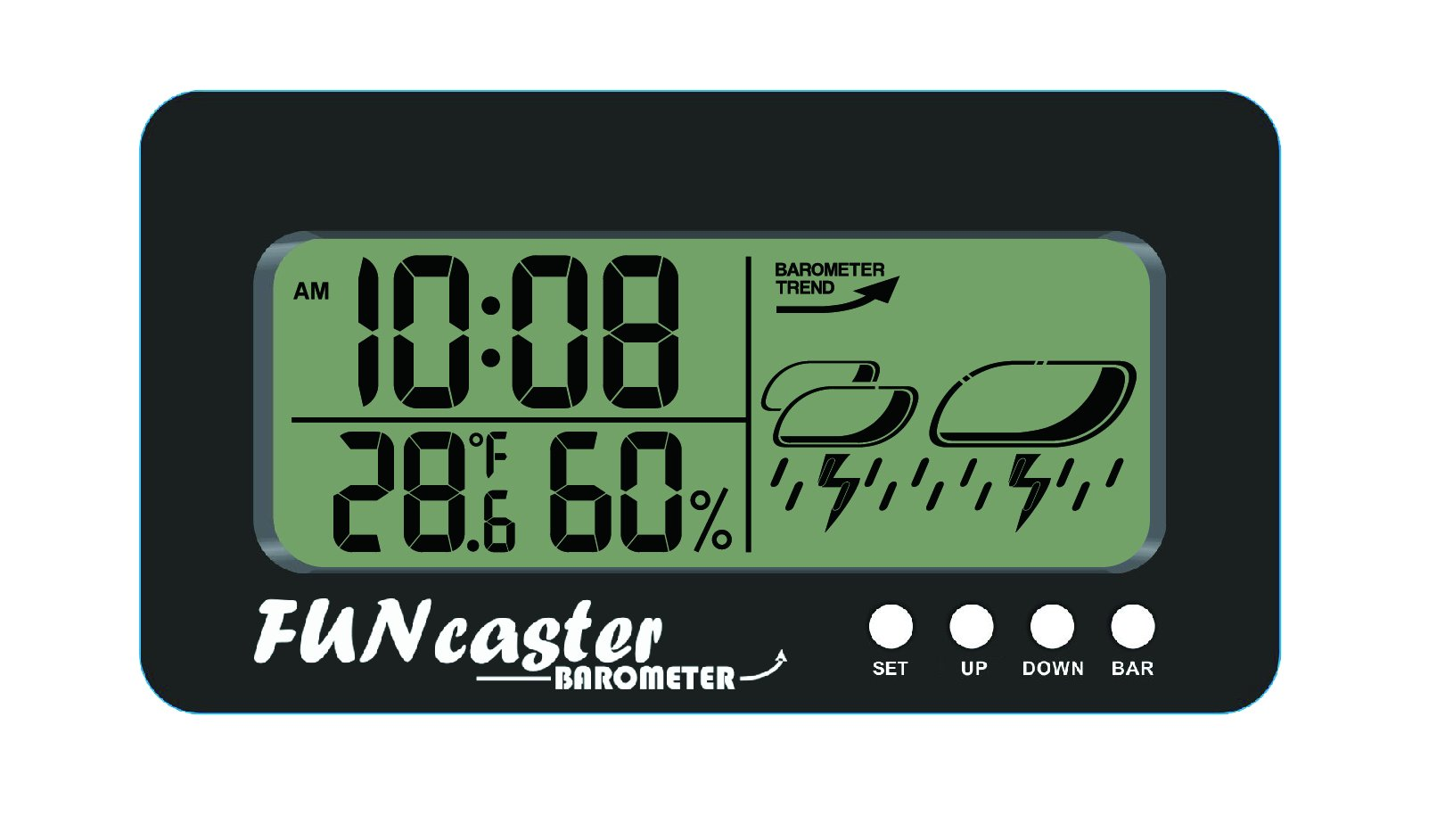 TecScan FUNcaster Barometer Ambient Weather Clock for Golf Cart, Boat, Home, Office Easy to See Time, Temp, Humidity, Forecast