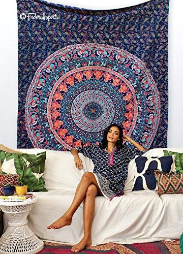 Handmade Cotton Mandala Bedspread Throw Bohemian Backdrop Medallion Yoga Meditation Picnic Garden Beach Throw Boho Gypsy Dorm Decor Living Room Hippie…