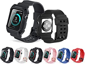 Tocosy Band for Apple Watch Band Case 38mm 42mm, Silicone iWatch Band with Protective Case Shockproof Replacement Strap with Mental Buckle Clasp for Apple Watch Series 3 Series 2 Series 1
