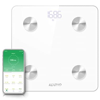 RENPHO Smart Body Fat Scale Bluetooth Digital Bathroom Scales Wireless Weight Scale BMI Scale Body Fat Monitor with Smartphone App 396 lbs - White